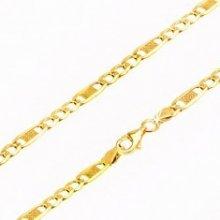 Šperky eshop Retiazka zo žltého zlata, tri oválne očká a jedno dlhšie s mriežkou GG69.31