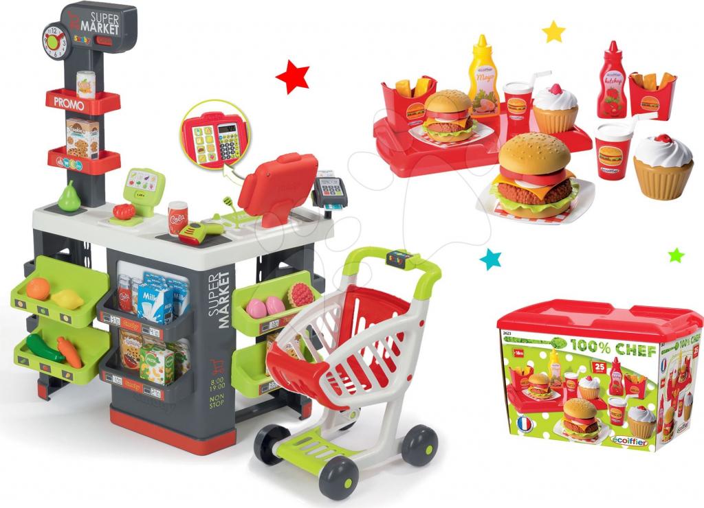 64a7273950ba Smoby obchod Supermarket s pokladňou a Écoiffier hamburger set 350213-30