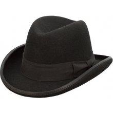 Assante Čierny pánsky tvrdý klobúk Homburg 85029