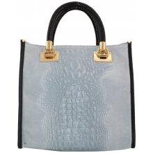 8efd522595 Talianska pracovná kožená kožená kabelka do ruky Parisa modrá