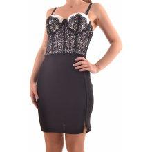 Dámske spoločenské šaty s čipkou D3 čierno-béžová