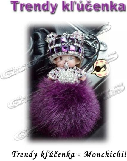 Prívesok na kľúče Prívesok na kľúče Trendy Monchichi Pom Pom fialový ... 37daa0f2488