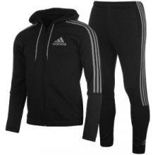 Adidas Three Stripe Jogger Suit Mens Black/Grey
