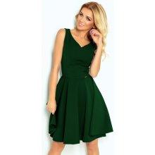 0c66569f6e7e 114-10 Rozkloszowana sukienka - dekolt w kształcie serca - ZIELEŃ BUTELKOWA