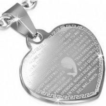 Šperky eshop Oceľový prívesok, ploché srdce striebornej farby, modlitba SP87.05