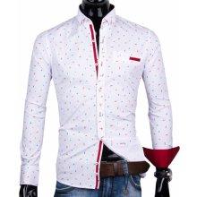 ecee5e27e836 30016-EM-346 Biela košeľa s trendy vzorom EGO MAN