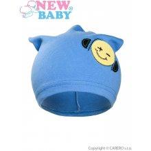 New Baby jesenná detská čiapočka smajlík bledo modrá