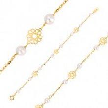 0b6da7f14 Šperky eshop náramok v žltom zlate ornamentálne vyrezávané kvietky, perly  GG37.28