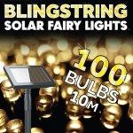 Vianočná solárna svetelná reťaz SolarCentre Blingstring - 100 LED / 10m teplá biela SS9878