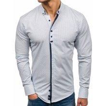f731feb1927b Bolf pánska elegantá košeľa s dlhými rukávmi Biela 7718