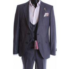 Pánsky oblek s vestou kocky modrá