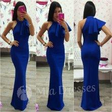 Spoločenské šaty s volánom modrá