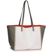 kabelka vybíjaná cez rameno veľká šedá biela edacc923393