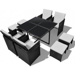 adb81fb317fd5 vidaXL 40835 Ratanový čierny jedálenský nábytok, 1 stôl, 4 stoličky,  taburetky
