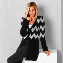 Blancheporte Jemný žakárový sveter čierna/biela