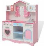 vidaXL Drevená kuchynka 82x30x100 cm ružovo- biela