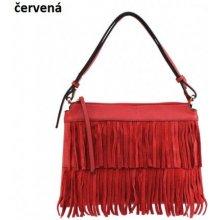 cb5d13e9a5 E   V kožená kabelka so strapcami Červená
