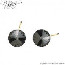 070efee4b Naneth pozlátené náušnice Rivoli s čiernymi kryštálmi Swarovski Silver  Night NAPZ1122SN12