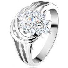 44f305a58 Šperky eshop Ligotavý prsteň rozvetvené ramená v striebornom odtieni číry  zirkónový kvet G10.06