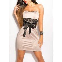 Dámske šaty KouCla bez ramienok s čipkou béžová 3b15e813d63