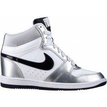 NIKE Dámské stylové boty WMNS NIKE FORCE SKY HIGH - Bílo stříbrné 629746-100