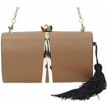 90f5276afb David Jones elegantná hnedá spoločenská kabelka s retiazkou a príveskom