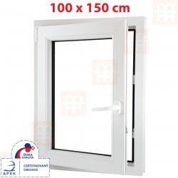 Plastové okno | 100x150 cm (1000x1500 mm) | biele | otváravé aj sklopné | ľavé | 6 komôr