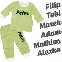 detské pyžamo s vlastným menom - zelené - 104