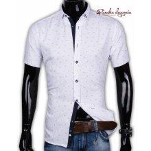 Ego Man 40021-EM-K-122 Biela košeľa so vzorom, krátky rukáv