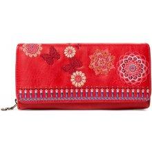 Desigual červená peňaženka Chandy Maria s výšivkou 49ee8503397