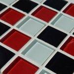 MOSAGRES MSN218 Mozaika sklo hľadká 300x300x4mm bieločervenočierná