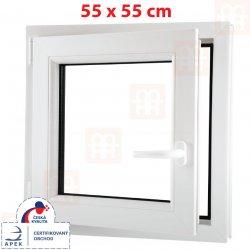 ALUPLAST Plastové okno biele otváravé aj sklopné ľavé 6 komôr 55x55 cm
