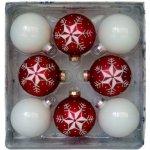 Vianočné gule červeno biele 67mm 8ks