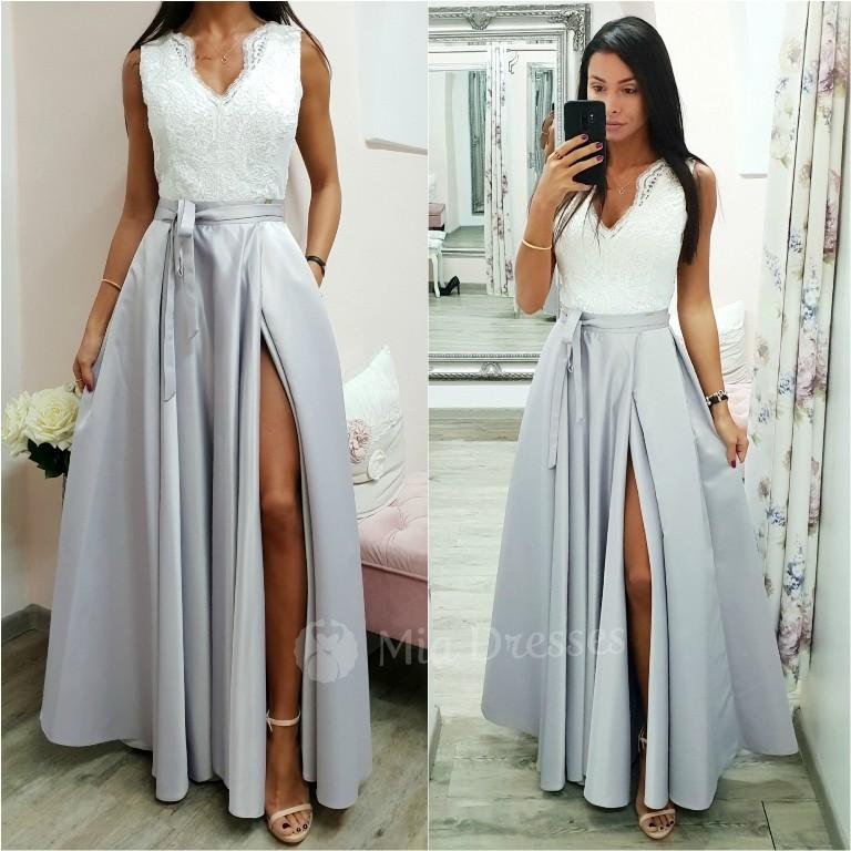 Dámske šaty Bielo-strieborné spoločenské šaty so saténovou sukňou ... b97809e7db9