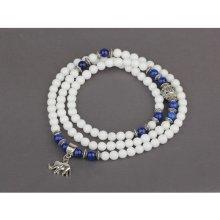 POLODRAHOKAM.SK náramok biely jadeit a lapis lazuli s príveskom slona Y1670