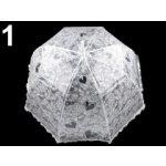 Dámsky dáždnik s rúčkou vystreľovací čipkový vzor biela 1 ks