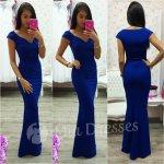 Spoločenské priliehavé šaty modrá