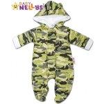 Baby Nellys Kombinézka s kapucňu a uškami ARMY zelená