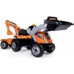 Smoby 710110 šliapací traktor Builder Max s bagrom a vozíkom oranžový