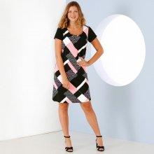 3ac44fe10328 Blancheporte Šaty s grafickým vzorom a krátkymi rukávmi čierna biela ružová