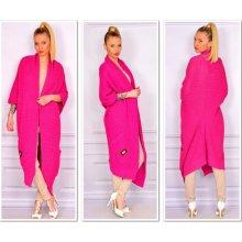 ... nezvyčajné pletené dlhé svetre kabáty MAXI SV06 ROYAL Ružový. 30 b72e518b636