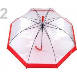 6604c2576 Dáždnik s rúčkou vystreľovací priehľadný hlboký červená alternatívy ...
