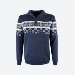 a17e23feae8e Dámsky sveter s nórskym vzorom Kama 5007 tm. modrý od 136