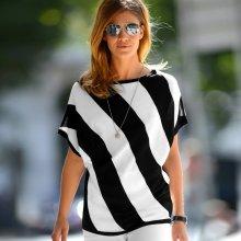 Blancheporte pulóver s grafickým vzorom a krátkymi rukávmi čierna/biela