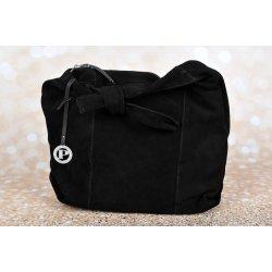 Pabia kabelka veľká čierna koža semiš