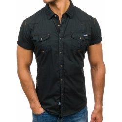 c503a920ce6c Čierna pánska košeľa s krátkymi rukávmi Bolf 3272 alternatívy ...