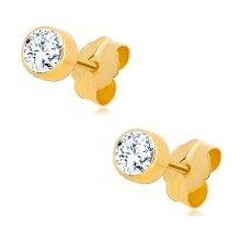 Šperky eshop náušnice zo žltého zlata číry okrúhly zirkón v objímke GG60.15