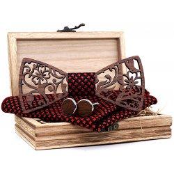 5ce7bfb14 Prepracovaný reliéfny set drevený motýlik + manžety + vreckovka Červená