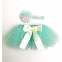 62a39a914c10 Tutu suknička pre bábätko s čelenkou zelená od 15