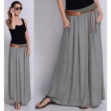 4e7e1fcf6ba3 Fashionweek dlhá sukňa zo vzdušného materiálu MAXI + pasek ZIZI6 sivá